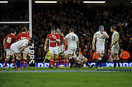 England players show their dejection as Wales win the championship.  RBS Six nations championship 2013, Wales v England at the Millennium stadium in Cardiff , South Wales on Saturday 16th March 2013. pic by Andrew Orchard, Andrew Orchard sports photography,