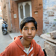Potrait of Indian boy in old city of Jodhpur