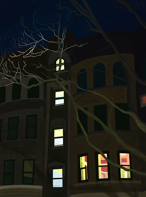 An apartment building on a Brooklyn Street with illuminated windows and large tree branches at dawn.