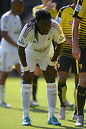 Bafetimbi Gomis of Swansea City looking on. Barclays Premier League, Watford v Swansea city at Vicarage Road in London on Saturday 12th September 2015.<br /> pic by John Patrick Fletcher, Andrew Orchard sports photography.