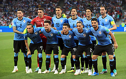 Uruguay (L-R, back to front):  Jose Gimenez, goalkeeper Fernando Muslera, Matias Vecino, Rodrigo Bentancur,  Edinson Cavani, Diego Godin, Diego Laxalt, Nahitan Nandez,  Lucas Torreira, Martin Caceres, and Luis Suarez