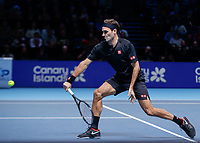 Tennis - 2019 Nitto ATP Finals at The O2 - Day Seven<br /> <br /> Semi Finals: Stefanos Tsitsipas (Greece) Vs. Roger Federer (Switzerland) <br /> <br /> Roger Federer (Switzerland) races in to play the backhand<br /> <br /> COLORSPORT/DANIEL BEARHAM<br /> <br /> COLORSPORT/DANIEL BEARHAM