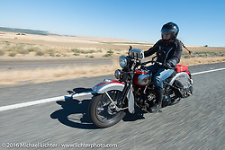 Cris Sommer Simmons riding her 1934 Harley-Davidson VD during Stage 15 (244 miles) of the Motorcycle Cannonball Cross-Country Endurance Run, which on this day ran from Lewiston, Idaho to Yakima, WA, USA. Saturday, September 20, 2014.  Photography ©2014 Michael Lichter.