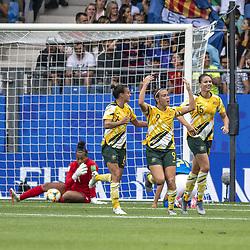 June 12, 2019 - Montpellier, França - MONTPELLIER, PL - 12.06.2019: BRAZIL VS AUSTRALIA - Australia's Caitlin Foord celebrates after scoring a goal (2-1) during a match between Australia and Brazil, valid fhe 2019 FIFAFIFA Women's Worup,Cup, held on Thursday, June 13, 2019, at Mosson Stadium , in Montpellier, France. (Credit Image: © Richard Callis/Fotoarena via ZUMA Press)