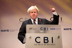 © London News Pictures. 04/11/2013 . London, UK.  Mayor Of London BORIS JOHNSON speaking at the 2013 Confederation of British Industry (CBI) Conference, held at the Hilton Metropole in London. . Photo credit : Ben Cawthra/LNP
