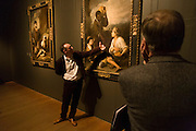 Dr. Xavier Bray, chief curator of the Dulwich Picture Gallery conducts a guided tour during the Gallery's exhibition Murillo & Justino de Neve: The Art of Friendship whose focus is on the 17th century Spanish Baroque painter's relationship with his patron and friend, Don Justino de Neve, a canon of Seville Cathedral, bringing together nearly all of the paintings Murillo made for Neve. Some artworks have never before been seen in public, taken down from their high position in Seville Cathedral for the first time since they were installed by Neve in 1667.
