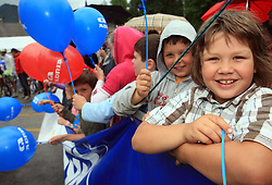 Children at start of 3rd stage of the 15th Tour de Slovenie from Skofja Loka to Krvavec (129,5 km), on June 13,2008, Slovenia. (Photo by Vid Ponikvar / Sportal Images)/ Sportida)