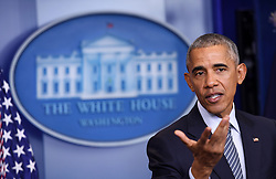 WASHINGTON, Nov. 15, 2016 (Xinhua) -- U.S. President Barack Obama gestures at his first press conference since last week's presidential election at the White House in Washington D.C., the United States, Nov. 14, 2016. Obama said on Monday that his successor Donald Trump, a frequent North Atlantic Treaty Organization (NATO) critic on the presidential campaign trail, was committed to NATO. .(Xinhua/Yin Bogu) (yy) (Credit Image: © Yin Bogu/Xinhua via ZUMA Wire)