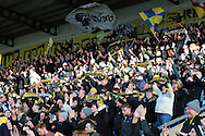 Oxford United fans celebrating winning the The FA Cup third round match between Oxford United and Swansea City at the Kassam Stadium, Oxford, England on 10 January 2016. Photo by Jemma Phillips.