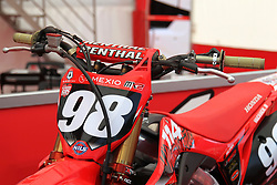 June 17, 2018 - Ottobiano, Lombardia, Italy - The Honda motorbike number 98 of Bas Vaessen before the Fiat Professional MXGP of Lombardia race at Ottobiano Motorsport circuit on June 17, 2018 in Ottobiano (PV), Italy. (Credit Image: © Massimiliano Ferraro/NurPhoto via ZUMA Press)