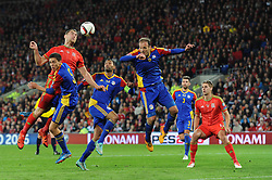 Sam Vokes of Wales heads towards goal - Mandatory byline: Dougie Allward/JMP - 07966 386802 - 13/10/2015 - FOOTBALL - Cardiff City Stadium - Cardiff, Wales - Wales v Andorra - European Qualifier 2016 - Group B