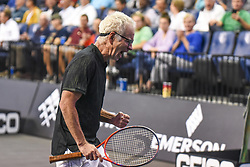 October 4, 2018 - St. Louis, Missouri, U.S - JOHN MCENROE celebrates winning a game during the Invest Series True Champions Classic on Thursday, October 4, 2018, held at The Chaifetz Arena in St. Louis, MO (Photo credit Richard Ulreich / ZUMA Press) (Credit Image: © Richard Ulreich/ZUMA Wire)