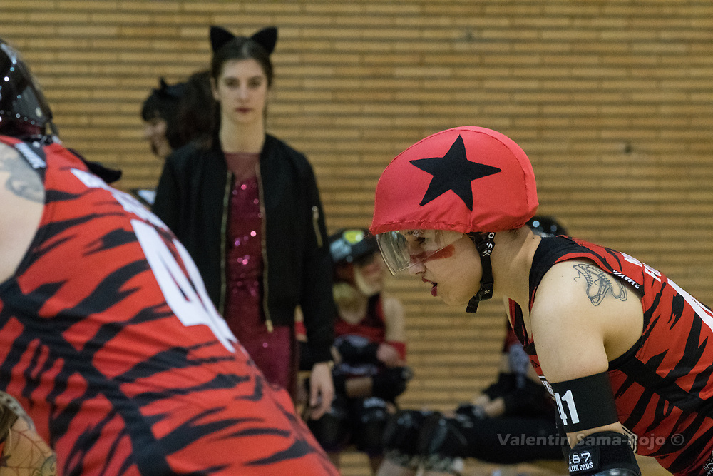 Madrid, Spain. 17th January, 2018. Face of the jammer of Roller Derby Madrid B, #41 Malas Formas, during the game against Baywitch Project Nice Roller Derby held in Madrid. © Valentin Sama-Rojo