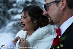 Vanessa and Brian Klock on their wedding day. Deadwood, SD. USA. Friday, December 28, 2018. Photography ©2018 Michael Lichter.