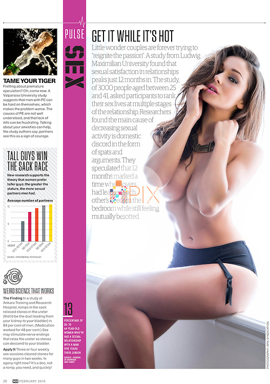 Interesting stats on passion in relationships in the February edition of Men's Health Magazine Australia.<br /> <br /> Main image from our lingerie shoot of British beauty Caitlin, available for worldwide use with a full release:  http://www.apixsyndication.com/gallery/Caitlin/G0000Jn_19kiSDC4/C0000BtLIveHqQ4w