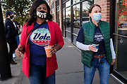 03 NOVEMBER 2020 - DES MOINES, IOWA: US Senate candidate THERESA GREENFIELD during a last minute Get Out the Vote appearance on Election Day in Des Moines. Voter turnout was heavy at most polling places in the Des Moines metro area.       PHOTO BY JACK KURTZ