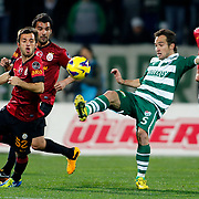 Bursaspor's F. D. Belluschi (2ndR) and Galatasaray's Emre Colak (L) during their Turkish soccer super league match Bursaspor between Galatasaray at the Ataturk Stadium in Bursa Turkey on Saturday, 02 February 2013. Photo by Aykut AKICI/TURKPIX