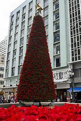 November 21, 2018 - Curitiba, Brazil - CURITIBA, PR - 21.11.2018: NATAL CURITIBA - Tourists take a picture of the Christmas tree installed on the sidewalk on XV de Novembro Street in the center of Curitiba on Wednesday (21) (Credit Image: © Henry Milleo/Fotoarena via ZUMA Press)