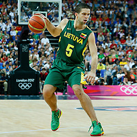 08 August 2012: Lithuania Mantas Kalnietis dribbles during Team Russia vs Team Lithuania, during the men's basketball quarter-finals, at the 02 Arena, in London, Great Britain.
