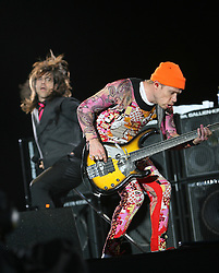 Anthony Kiedis and Flea, of the Red Hot Chilli Peppers, headliners on the main stage at T in the Park, Sunday 2006..©Michael Schofield..