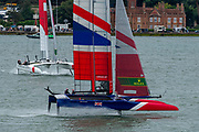 SailGP Team GBR and Team Japan in race two of practice. Event 4 Season 1 SailGP event in Cowes, Isle of Wight, England, United Kingdom. 8 August 2019: Photo Chris Cameron for SailGP. Handout image supplied by SailGP