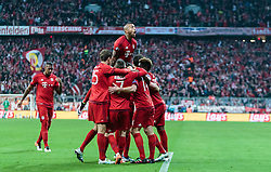 03.05.2016, Allianz Arena, Muenchen, GER, UEFA CL, FC Bayern Muenchen vs Atletico Madrid, Halbfinale, Rueckspiel, im Bild Torjubel Bayern Muenchen nach dem 1:0 durch Xabi Alonso (FC Bayern Muenchen), Jerome Boateng (FC Bayern Muenchen), Thomas Mueller (FC Bayern Muenchen), Franck Ribery (FC Bayern Muenchen), David Alaba (FC Bayern Muenchen), Arturo Vidal (FC Bayern Muenchen) // Goal Celebration after the Opening Goal from Xabi Alonso (FC Bayern Muenchen) Jerome Boateng (FC Bayern Muenchen) Thomas Mueller (FC Bayern Muenchen) Franck Ribery (FC Bayern Muenchen) David Alaba (FC Bayern Muenchen) Arturo Vidal (FC Bayern Muenchen) during the UEFA Champions League semi Final, 2nd Leg match between FC Bayern Munich and Atletico Madrid at the Allianz Arena in Muenchen, Germany on 2016/05/03. EXPA Pictures © 2016, PhotoCredit: EXPA/ JFK