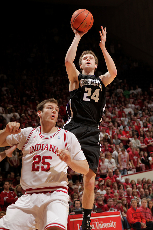 15 February 2012: Northwestern Wildcats forward John Shurna (24) as the Indiana Hoosiers played the Northwestern Wildcats in a college basketball game in Blomington, Ind.