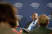 Nhlanhla Musa Nene, Minister of Finance of South Africa at the press conference held in Johannesurg by The World Economic Forum on the 28th of June 2018. Image by Greg Beadle