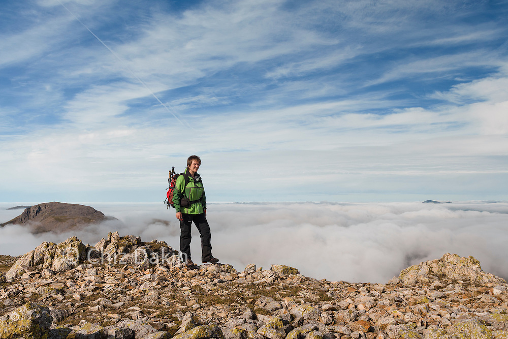 Above the clouds on Great End, Esk Hause in background