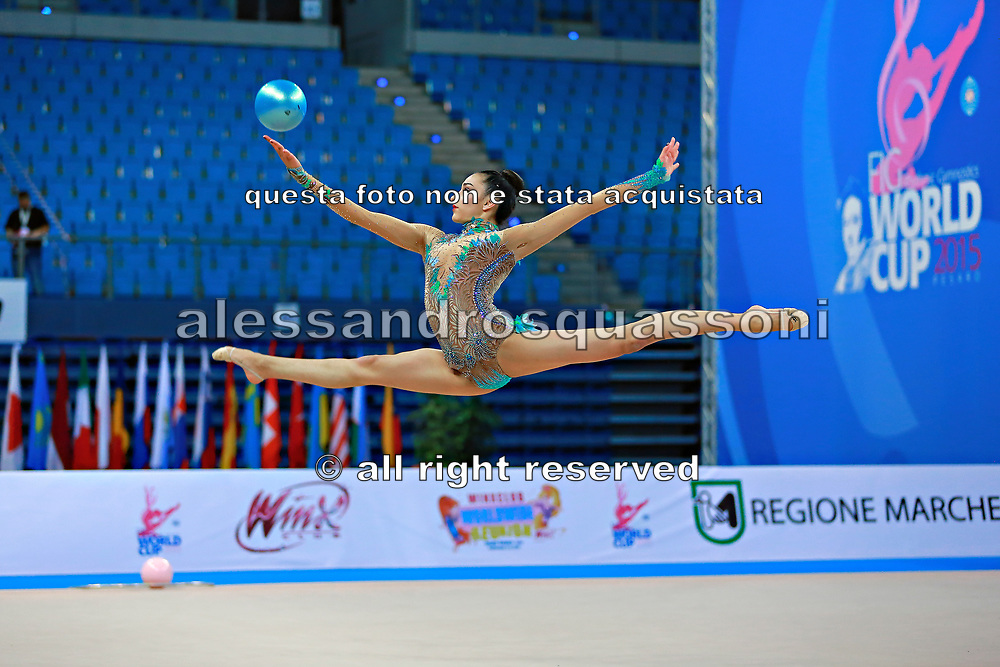 Alevrogianni Korina during qualifying at ball in Pesaro World Cup 10 April 2015. Korina  was born on 5 June,1997 in Athens. She is a Greek individual rhythmic gymnast.