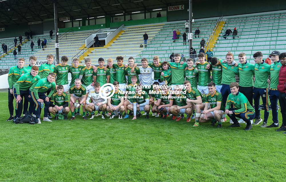 Meath players after they beat Dublin  in the Leinster MFC round 1, match Meath V Dublin at Páirc Tailteann, Navan.<br /> <br /> Photo: GERRY SHANAHAN-WWW.QUIRKE.IE<br /> <br /> 17-10-2020
