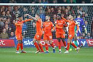 Goal Luton Town forward James Collins (19) scores and celebrates with his team mates the first goal during the EFL Sky Bet League 1 match between Luton Town and Plymouth Argyle at Kenilworth Road, Luton, England on 17 November 2018.