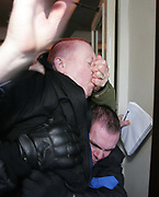 Times reporter Dominic Kenneday is evicted from the BNP meeting in Elm Park, Essex. The British National Party are a far right wing political party whose presence on the political stage is highly controversial due to their allegedly racist / fascist viewpoint.