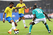 Paulinho (Brazil) and Antonio Rudiger (Germany) during the International Friendly Game football match between Germany and Brazil on march 27, 2018 at Olympic stadium in Berlin, Germany - Photo Laurent Lairys / ProSportsImages / DPPI
