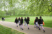 The rush to The Mall through Green Park during celebrations on the day of the Royal wedding of Prince William and Catherine Middleton, London, United Kingdom.