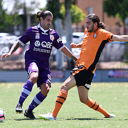 BRISBANE, AUSTRALIA - JANUARY 8: Aryn Williams of the Glory is tackled by Jayden Prasad of the Roar during the round 8 Foxtel National Youth League match between the Brisbane Roar and Perth Glory at AJ Kelly Field on January 8, 2017 in Brisbane, Australia. (Photo by Patrick Kearney/Brisbane Roar)