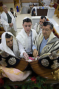 Israel, Tel Aviv, Beit Daniel, Tel Aviv's first Reform Synagogue Bar Mitzvah ceremony. Bar Mitzvah boy reads from the Torah