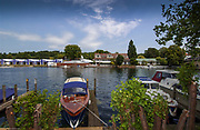 Henley on Thames, Henley. UK.<br /> <br /> 2005 Henley Royal Regatta, Henley on Thames, ENGLAND. <br /> <br /> Looking across the River the tented boat area and Leander Club.<br /> <br /> Tuesday 28.06.2005. Henley Royal Regatta,GV's Henley Regatta<br /> <br /> [Mandatory Credit Peter Spurrier/ Intersport Images] ...........Rowing Courses, Henley Reach, Henley, ENGLAND. HRR
