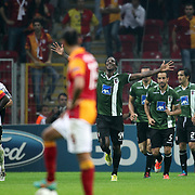 Braga's Dauglao (C) with team mates celebrates his goal during their UEFA Champions League Group H matchday 2 soccer match Galatasaray between Braga at the TT Arena Ali Sami Yen Spor Kompleksi in Istanbul, Turkey on Tuesday 02 October 2012. Photo by Aykut AKICI/TURKPIX
