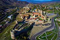 Géorgie, région de Samtskhé-Djavakhétie, Akhaltsikhe, le château de Rabati datant du IXe siècle, vue aerienne // Georgia, Caucasus, Samtskhé-Djavakhétie, Akhaltsikhe, Rabati castle from 9th century, aerial view