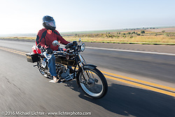 Byrne Bramwell of Ontario, Canada riding his 4-cylinder 1913 Henderson class-2 bike during the Motorcycle Cannonball Race of the Century. Stage-9 Dodge City, KS to Pueblo, CO. USA. Monday September 19, 2016. Photography ©2016 Michael Lichter.