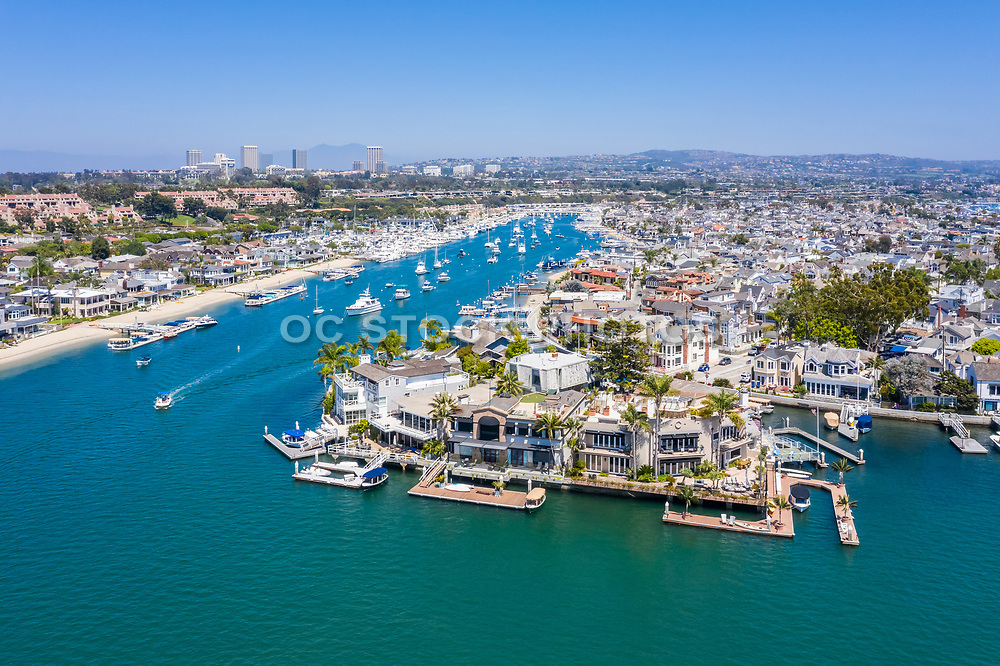 Balboa Island North Channel with Fashion Island in the Background