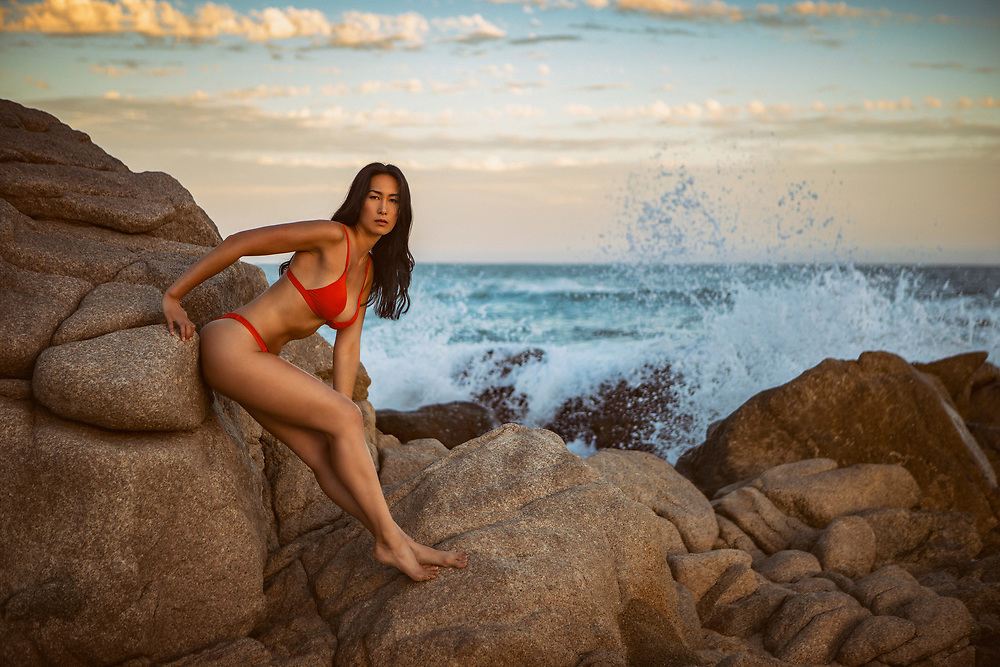 Swimsuit Model shot in Cabo San Lucas, Mexico. Beach location at sunset. ©justinalexanderbartels.com