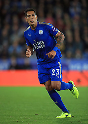 """Leicester City's Leonardo Ulloa during the Carabao Cup, third round match at the King Power Stadium, Leicester. PRESS ASSOCIATION Photo. Picture date: Tuesday September 19, 2017. See PA story SOCCER Leicester. Photo credit should read: Mike Egerton/PA Wire. RESTRICTIONS: EDITORIAL USE ONLY No use with unauthorised audio, video, data, fixture lists, club/league logos or """"live"""" services. Online in-match use limited to 75 images, no video emulation. No use in betting, games or single club/league/player publications."""