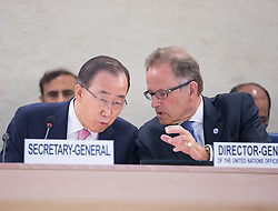 United Nations Secretary-General Ban Ki-moon (L) whispers with Michael Moller, director-general of the United Nations Office at Geneva during the Geneva Conference on Preventing Violent Extremism in Geneva, Switzerland, April 8, 2016. United Nations Secretary-Genera Ban Ki-moon said Friday that a paradigm shift is needed to address violent extremism affecting communities across the globe. EXPA Pictures © 2016, PhotoCredit: EXPA/ Photoshot/ Xu Jinquan<br /> <br /> *****ATTENTION - for AUT, SLO, CRO, SRB, BIH, MAZ, SUI only*****