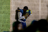 Inderkum High School Tigers Julian Haynes (68), bows his head \before the game as they host the Davis High School Blue Devils in their play off game Friday, November 15, 2019.