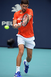 March 18, 2019 - Miami Gardens, Florida, United States Of America - MIAMI GARDENS, FL - MARCH 18: Novak Djokovic on the practice court prior to the start of the Miami Open Tennis Tournament at Hard Rock Stadium. Novak Djokovic is a Serbian professional tennis player who is currently ranked world No. 1 in men's singles tennis by the Association of Tennis Professiona on March 18, 2019 in Miami Gardens, Florida...People: Novak Djokovic. (Credit Image: © SMG via ZUMA Wire)