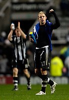 Photo: Jed Wee/Sportsbeat Images.<br /> Newcastle United v Birmingham City. The FA Barclays Premiership. 08/12/2007.<br /> <br /> Newcastle's Alan Smith (R) and James Milner celebrate at the final whistle.