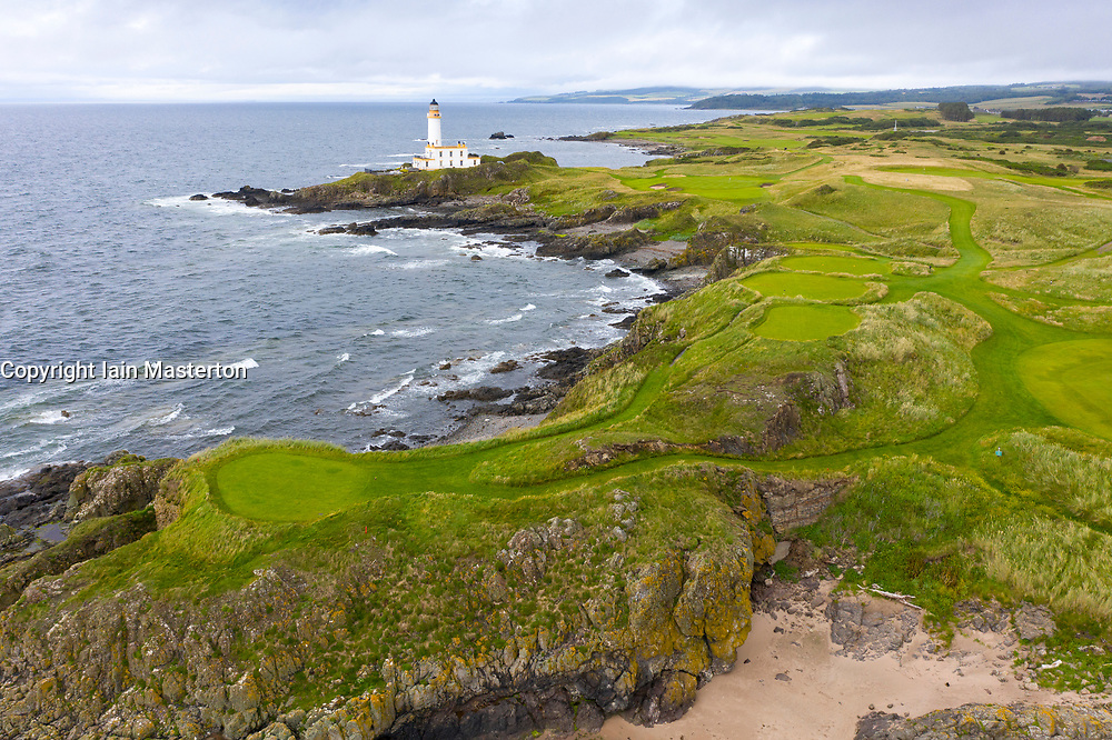 Aerial view from drone of 9th hole Bruce's Castle, on Ailsa course at Trump Turnberry golf course in Ayrshire, Scotland, UK
