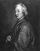 John Dryden (1631-1700)  English poet.  Poet Laureate 1668.  Lithograph after portrait by Godfrey Kneller.